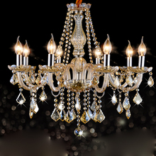 European Cognac color crystal chandelier chandelier style retro minimalist living room lamp candle lamp retro Restaurant lamps