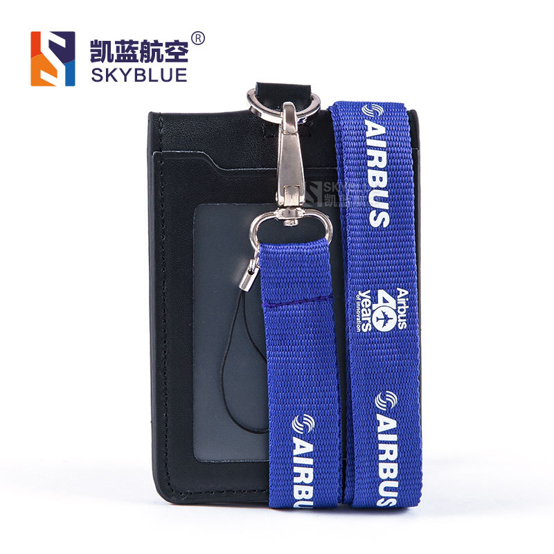 Airbus Logo Lanyard with ID Card Holder PU Leather Badge Case for 40 Years Souvenir Package Fortieth Anniversary Blue / Purple ikki patterned flip open pu case w holder card slot for iphone 4s 4 purple white