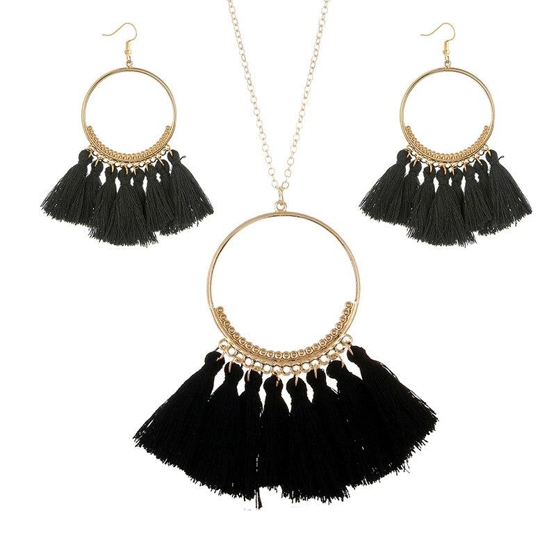 cjh026 Christmas Hoops Tassle Tassel Earrings Necklace Set Drop Fringe Necklace Set