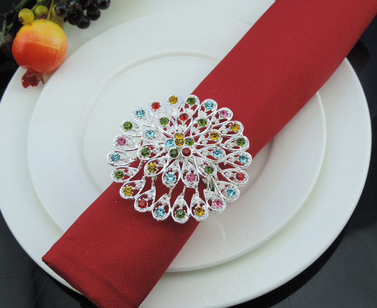 10pcs/lot Exquisite diamond napkin ring metal napkin buckle home restaurant table decorations wedding decoration essential