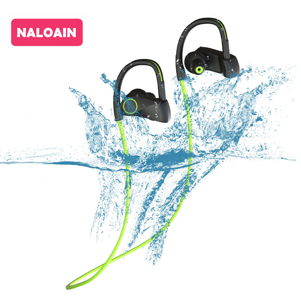 Bluetooth Headset Sport IPX7 Waterproof Bass Wireless Earphone Stereo Neckband Headphone With Mic Hands Free For Smartphone new new bluetooth music soft warm beanie hat with stereo headset speaker mic headphone wireless hands free cap
