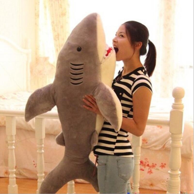 Une pièce haute qualité Kawaii oreiller énorme requin en peluche jouet énorme en peluche Animal requin Animal cadeau d'anniversaire Nice Brinquedos pour les enfants