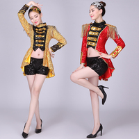 Jazz Dance Costume Women's New Youth Fashion Modern Dance Costumes For The Ds Club Sex - Button Adult Suit