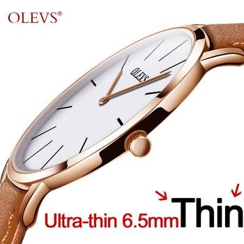 bf94ad42340c Los hombres ultra delgado Reloj de cuarzo OLEVS superior de la marca de  lujo de muñeca relojes casuales de negocios de cuero relojes impermeable  Reloj ...