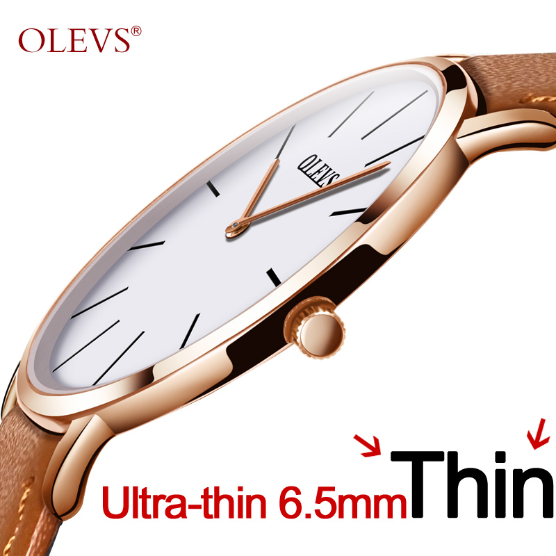 Mænd ultra tynde Quartz Watch OLEVS Topmærke Luksus Armbåndsure Casual Business Læder ure Rose Waterproof Man Clock Reloj