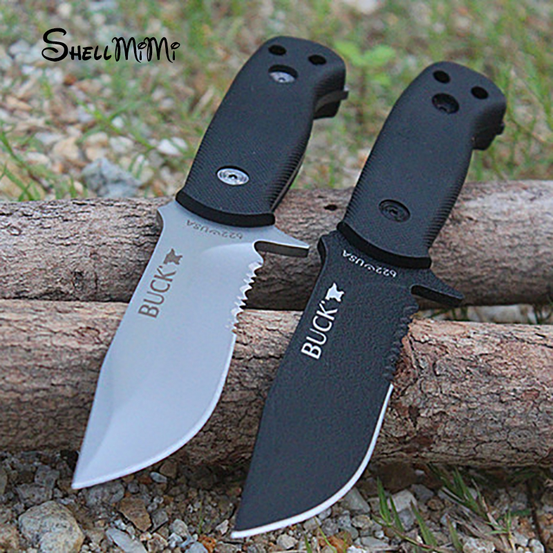 Shellmimi 2 Colors Options BUCK Small Fixed font b Knives b font 420HR Blade font b