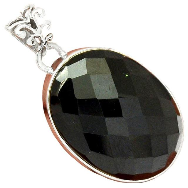 Faceted black onyx pendant 925 sterling silver jewelry 41mm ap1532 faceted black onyx pendant 925 sterling silver jewelry 41mm ap1532 aloadofball Choice Image