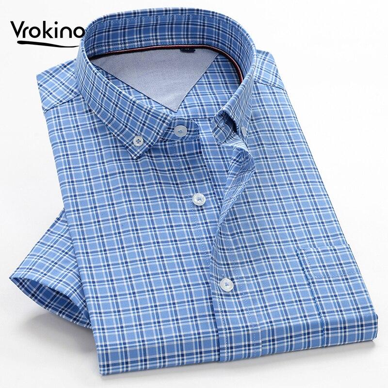 2019 Summer New Style Large Size Men's Shirt 8XL 9XL 10XL Business Casual High Quality 100% Cotton Plaid Short Sleeve Shir