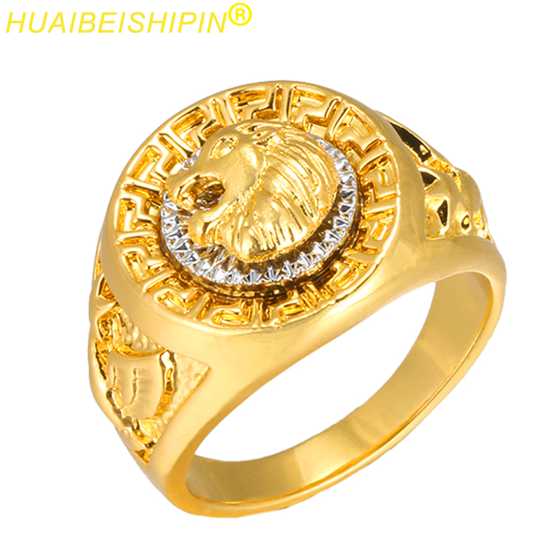 HUAIBEISHIPIN Fashion Gold and Silver Colors Classic Men s Punk Style Hip Hop Ring Band Cool