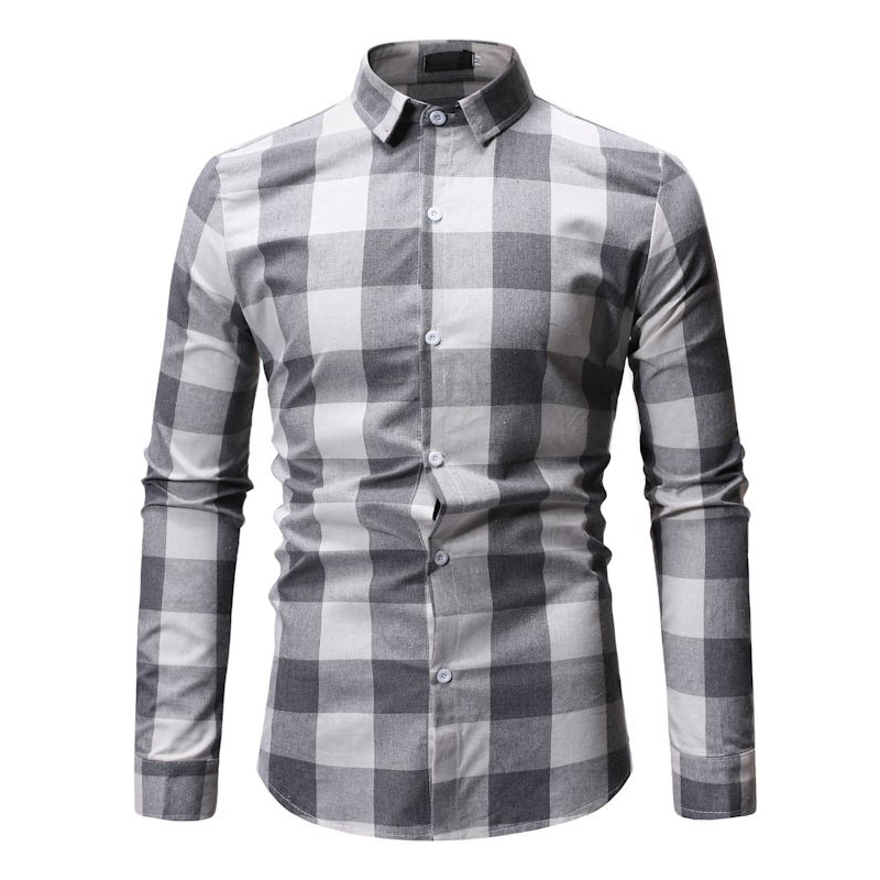New Autumn Fashion Brand Men Clothes Slim Fit Men Long Sleeve Shirt Men Plaid Cotton Casual Men Shirt Social Plus Size M-3XL 8