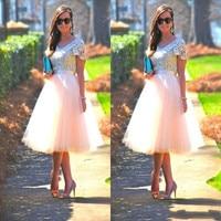 2017 Amazing Scoop Short Sleeve Lace Graduation Dresses Tea Length Tulle Party Dresses Vestidos De Homecoming