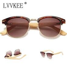 lvvkee new Casual Retro Wood Bamboo Sunglasses Men Women Brand Designer club Gold Mirror oculos de sol Half moon glasses 1505