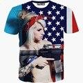 Nuevas camisetas de manga corta cuello o t shirt casual Mujeres/hombres REINO UNIDO bandera sexy lady impresión 3d t shirt hot tops S-XXL T1503