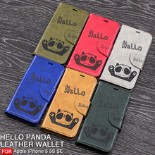 Fashion Cute Hello Panda Embossing Leather Wallet Case for iPhone 5 5S SE Flip Stand Card Holder Phone Cover for iPhone 5 5S SE blooming flowers rhinestones inlaid wallet leather stand case for iphone 5s 5