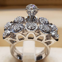 Boho Engagement Ring For Women Wedding Ring Set Fashion Cute Female Round Boho Zircon Ring Crown 925 Silver Bridal Rings Jewelry(China)
