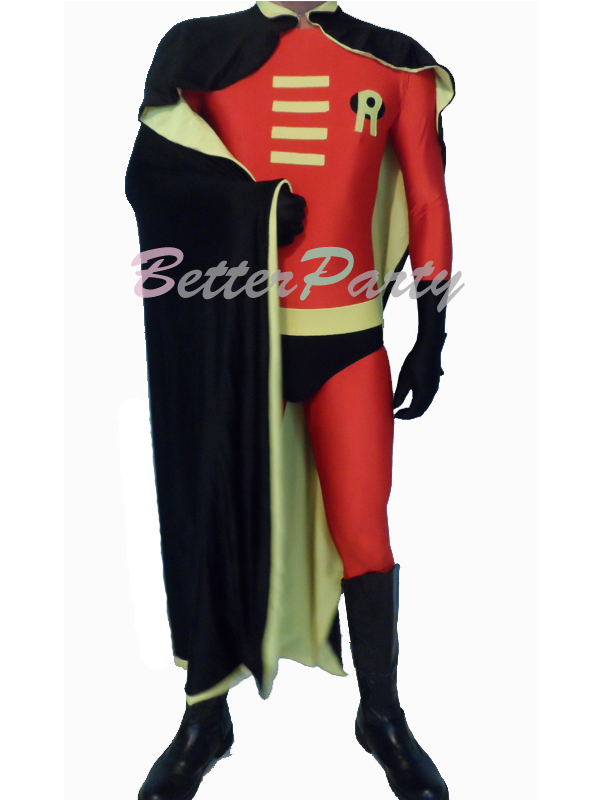 Robin Cosplay Costumes Lycra Spandex Zentai Outfit with Cape for Halloween and Carnival Party Fancy Costume