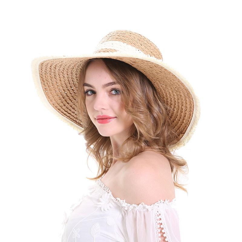 MEEFUR Summer Beach Hat Wide Brim Tassels Floppy Ladies Outdoor Adjustable Straw Hats