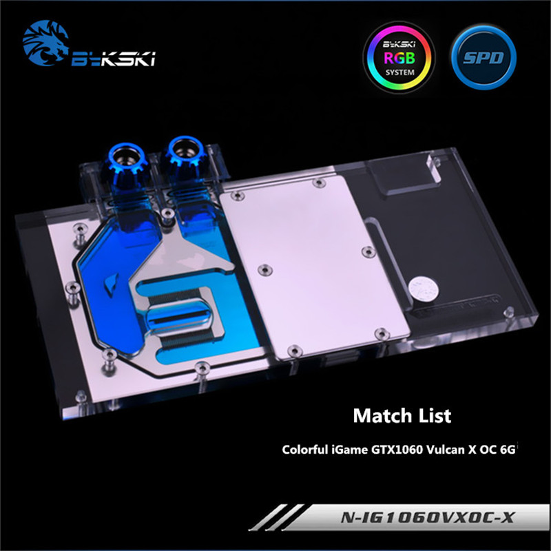 Bykski Full Coverage GPU Water Block For Colorful iGame GTX1060 Vulcan X OC 6G Graphics Card N-IG1060VXOC-X bykski n ig1060oncev2 x gpu water cooling block for colorful gtx1060 gaming