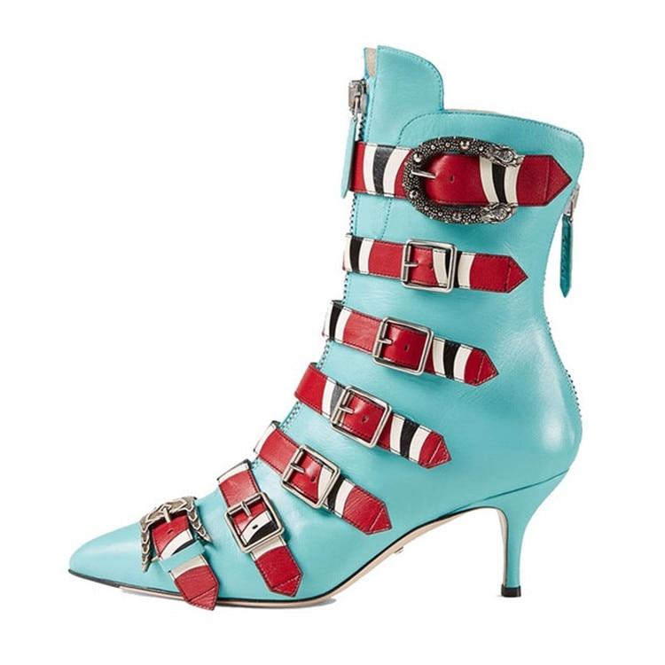 De Pic Botas Moda Nuevas Cristal Puntiaguda Hebillas Pasarela Genuino Zapatos Lujo Alta Pic Punta As Fiesta Cuero Mujer Tobillo as Bordadas 5ASqRS