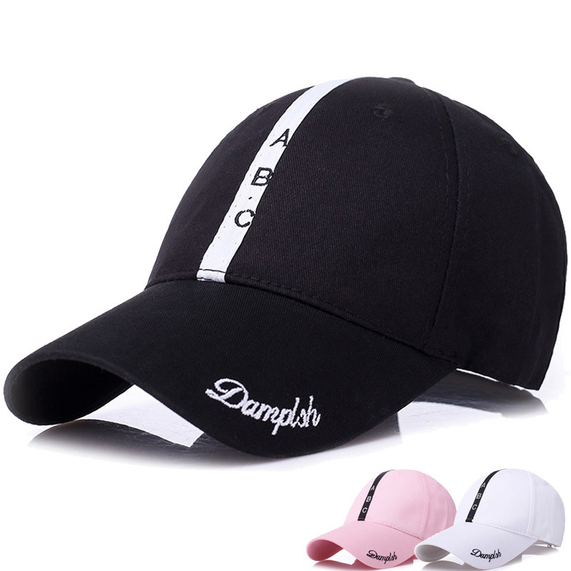 2018 New Pink Black Baseball Cap Spring Summer Cotton Cap Sunscreen Leisure Visor Hat Letter ABC Snapback Casquette Street Sport