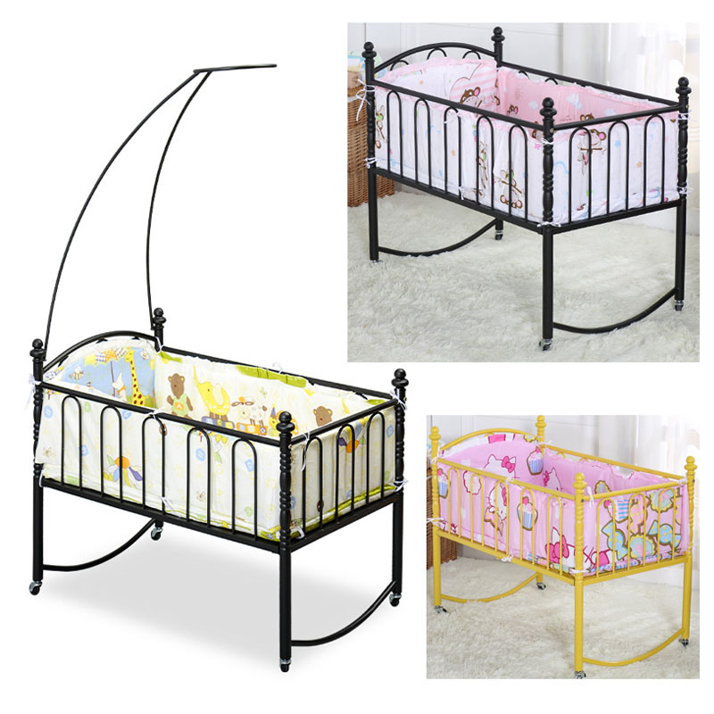 Iron Baby Crib With Mosquito Net Simple Metal Baby Bed For Sleeping Baby Crib With Roller Trolley Game Bed Newborn Bedding Set