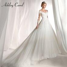 אשלי קרול ארוך שרוול חתונה שמלת 2020 סקסי סקופ בית משפט רכבת כלה שמלות רומנטי נסיכת טול בציר כלה שמלות