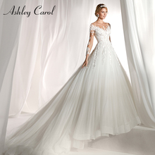 Ashley Carol Langarm Hochzeit Kleid 2020 Sexy Scoop Gericht Zug Braut Kleider Romantische Prinzessin Tüll Vintage Brautkleider