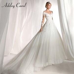 Image 1 - Ashley Carol Langarm Hochzeit Kleid 2020 Sexy Scoop Gericht Zug Braut Kleider Romantische Prinzessin Tüll Vintage Brautkleider