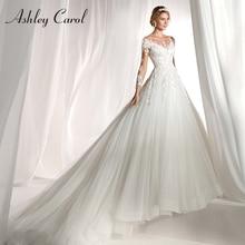 Ashley Carol Lange Mouw Trouwjurk 2020 Sexy Scoop Hof Trein Bruid Jurken Romantische Prinses Tulle Vintage Bruidsjurken