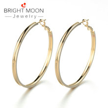 Bright Moon New Arrivals Womens Big Round Earrings Statement Silver Plated Circle Hoop for Women