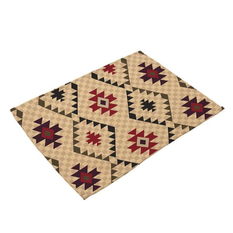 Geometric Art Texture Cotton Linen Western Pad Placemat Tableware Cloth Dining Table Mat Kitchen Restaurant Accessories 4