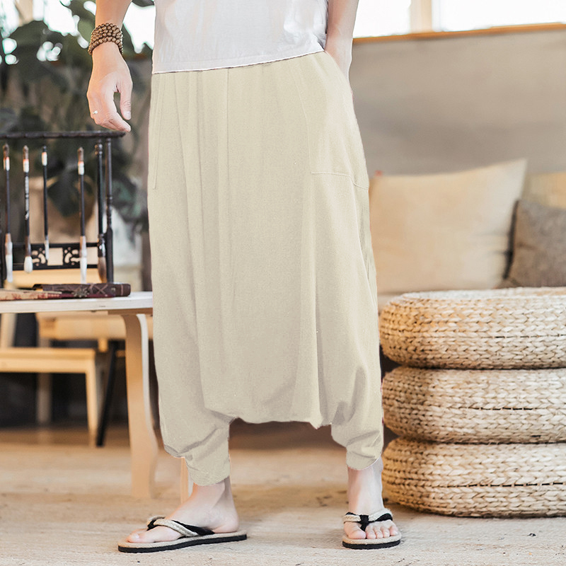 Summer Retro Mens Trousers Big Crotch Lantern Pants Loose Baggy Male HipHop Harem Casual Pants Plus Size 5XL INCERUN