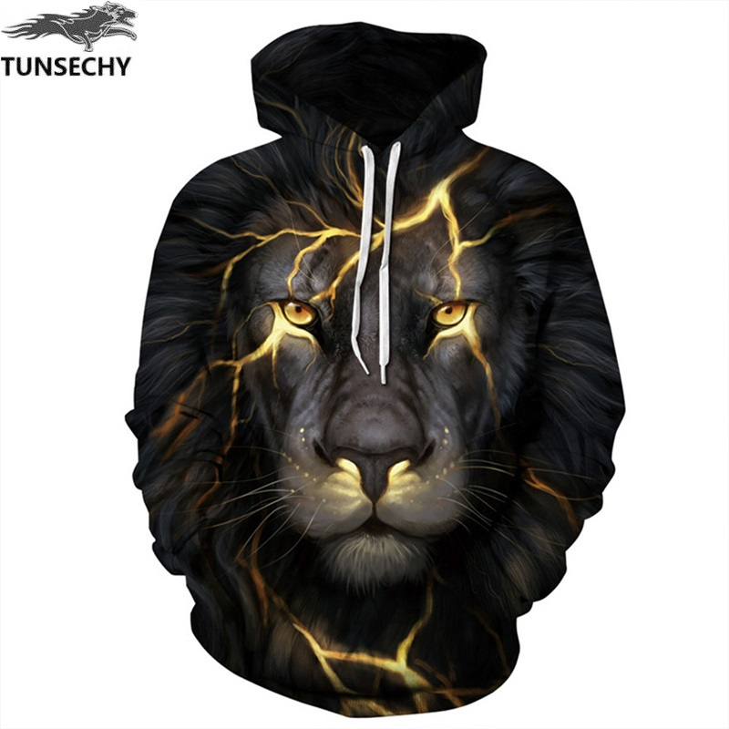 TUNSECHY New Fashion Hoodies Sweatshirts Men/Women 3D Sweatshirts Print Golden Lightning Lion Hooded Hoody Tracksuits Tops