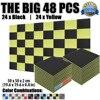 New 50 X 50 X 2 Cm Acoustic Panel Foam 48 Pcs Yellow And Black Wedge