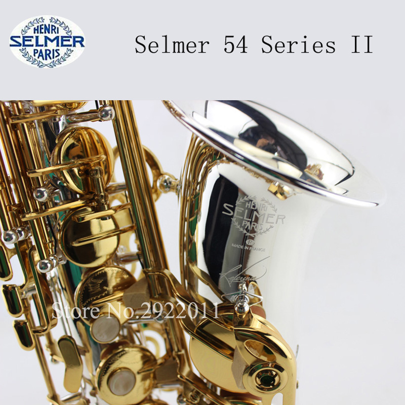Selmer 54 Series II Saxophone Silvering Alto Eb Sax Gold Key with Mouthpiece High Quality Instruments Professional Saxofone alto saxophone selmer 54 brass silver gold key e flat musical instruments saxophone with cleaning brush cloth gloves cork strap
