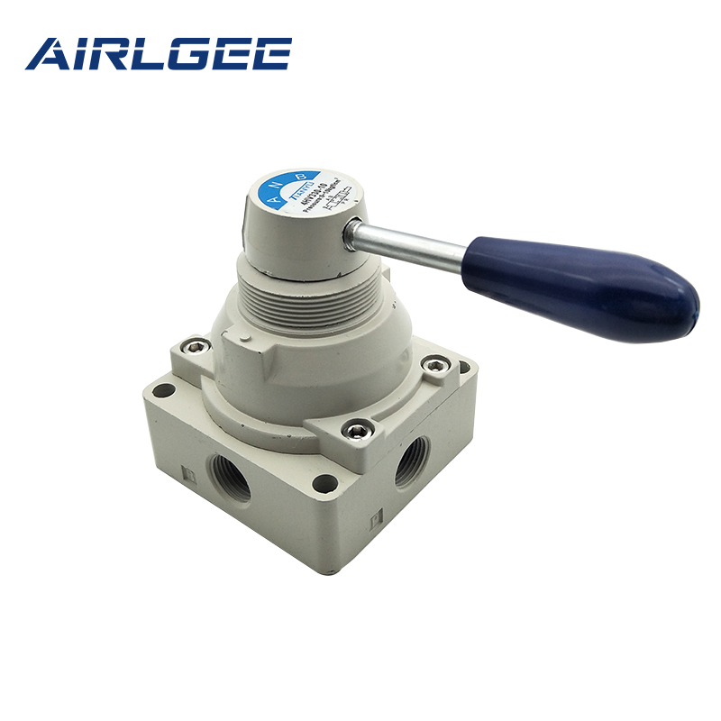 Pneumatic Plastic Handle 3 Positions 4 Ways 3/8PT Thread Port Air Hand Lever Switching Valve 4HV330-10 1 8pt thread 2 position 3 way rectangle mechanical air pneumatic valve tac2 31v