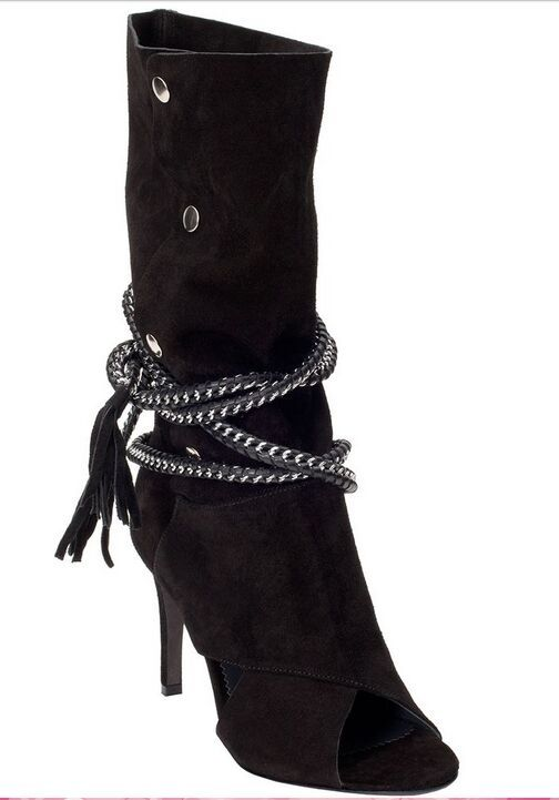 Mid-calf brown black suede boots peep toe high thin heel rivets decorated metal chain chain side fringe boots for woman Hot Sale new popular black and white exquisite beads and rivets decorated three buckles peep toe high heeled short sandal boots