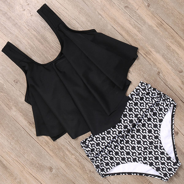 RXRXCOCO High Waist Bikini Push Up Swimwear Women Swimsuit Plus Size Bikini Set 2019 Ruffle Tankini Two Piece Halter Swim Wear