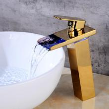 OUYASHI bathroom basin faucet deck mounted single handle hole LED light water fall tap