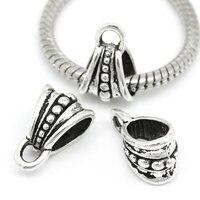 50Pcs Silver Tone Handbag Shape Metal Bail Spacer Beads Fit European Snake Chain Charms Bracelets 15x9.5mm
