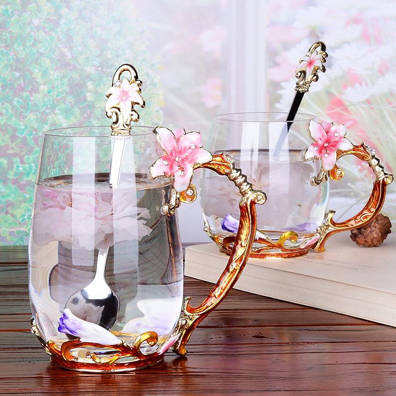 Creative Enamel Glass Cup pink Lily flower Coffee cups Handgrip Style tea Lovers Heat resistant Water
