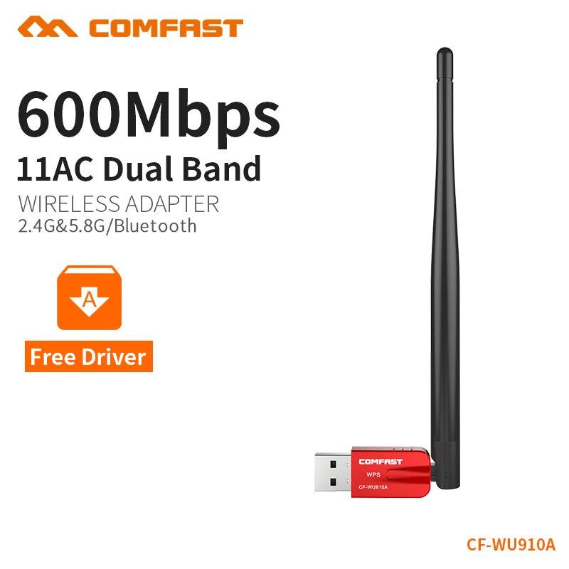 COMFAST Usb Wifi Adaptateur 5 ghz 433Mbs 3dBi + 2.4 ghz 150Mbs 2dBi Wifi Ac Bluetooth Pilote Libre Wifi Pour PC Récepteur Windows Système