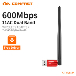 COMFAST Usb Wifi Adapter 5Ghz 433Mbs 3dBi + 2.4Ghz 150Mbs 2dBi Wifi Ac Bluetooth Free Driver Wifi For PC Receiver Windows System