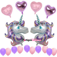 1 Set Large Purple Unicorn Foil Balloons 18 Inch Pearl Heart Latex Balloon Wedding Birthday Party
