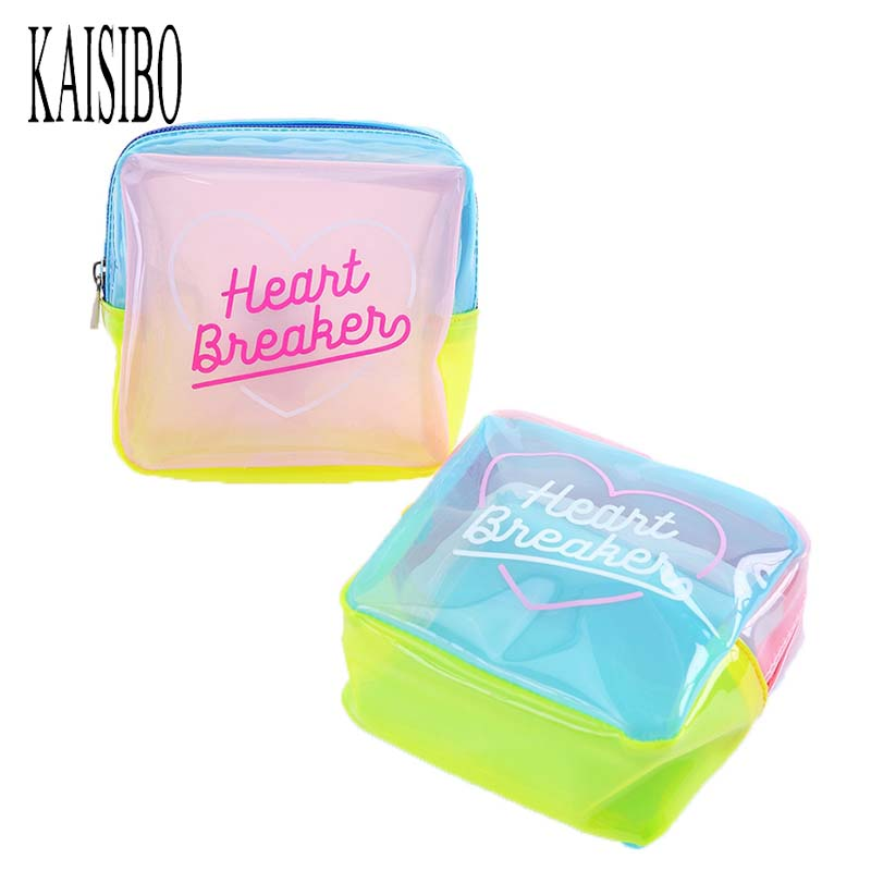 KAISIBO Jelly Cosmetic Bag Waterproof Patchwork Travel Wash Bag Women PVC Makeup Necessaries Pouch Toiletry Bag