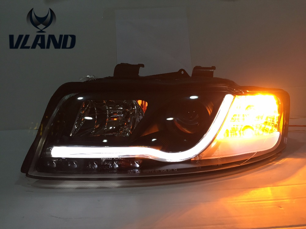 Vland factory for Audi A4 Headlights 2001 2004 LED Headlight DRL Lens Double Beam H7 HID Xenon bi xenon lens hireno headlamp for 2004 10 hyundai elantra headlight headlight assembly led drl angel lens double beam hid xenon 2pcs
