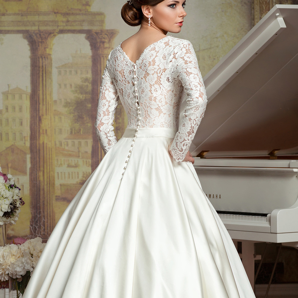 4138618f53a Vestido De Noiva Lace Long Sleeves Ball Gown Simple Wedding Dresses.  Backless Wedding Dresses Low Back ...