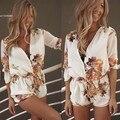 Mulheres Primavera Verão Curto Solto Macacões Playsuit Impressão Flor Floral Impresso Macacão Bodysuit Geral Plus Size