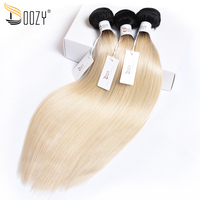 Doozy Ombre Color 1b/613 Brazilian Hair 3/4 Bundles Double Weft Remy Straight Blonde Human Hair Weaving