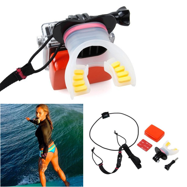 Surfing Diving Sports Skating Shoot Dummy Bite Mouthpiece Mouth Mount Floaty Neck Lanyard for GoPro Hero 4 Session 3+ 3 2 Camera